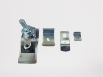 Door latch; brushed chrome S-2 setter/hatcher control cabinet; S-2, S-3, S-3A, ISIS recorder cabinet